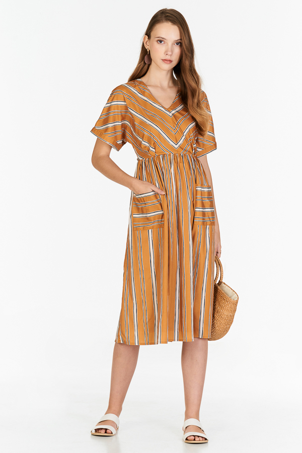 Sherina Stripes Midi Dress in Mustard