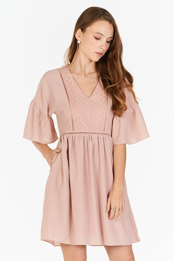 Corila Eyelet Panel Dress in Pink