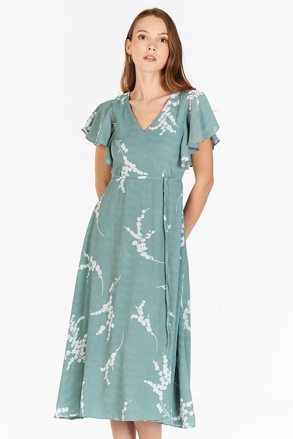 Anisa Printed Midi Dress in Seafoam