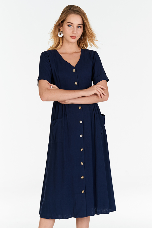 Landa Linen Midi Dress in Navy