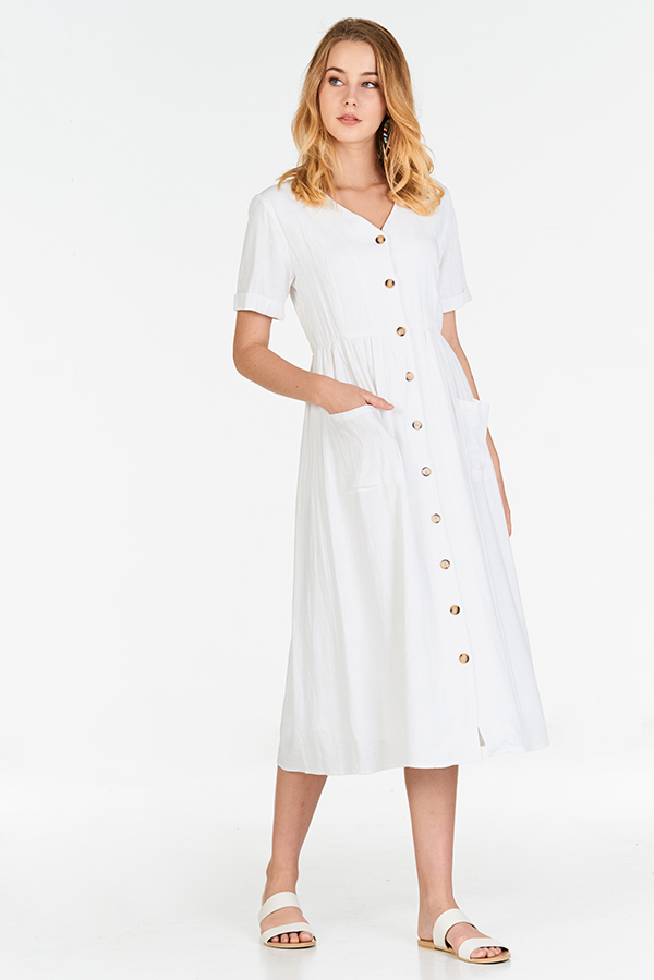 Landa Linen Midi Dress in White