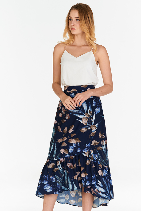 Ferlina Fauna Printed Midi Skirt in Navy