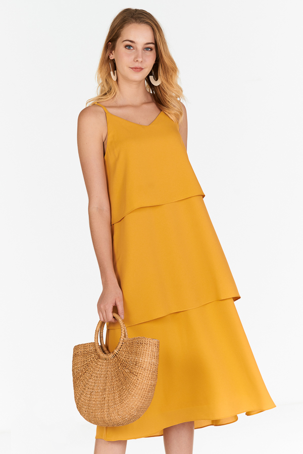 Denica Tiered Midi Dress in Marigold