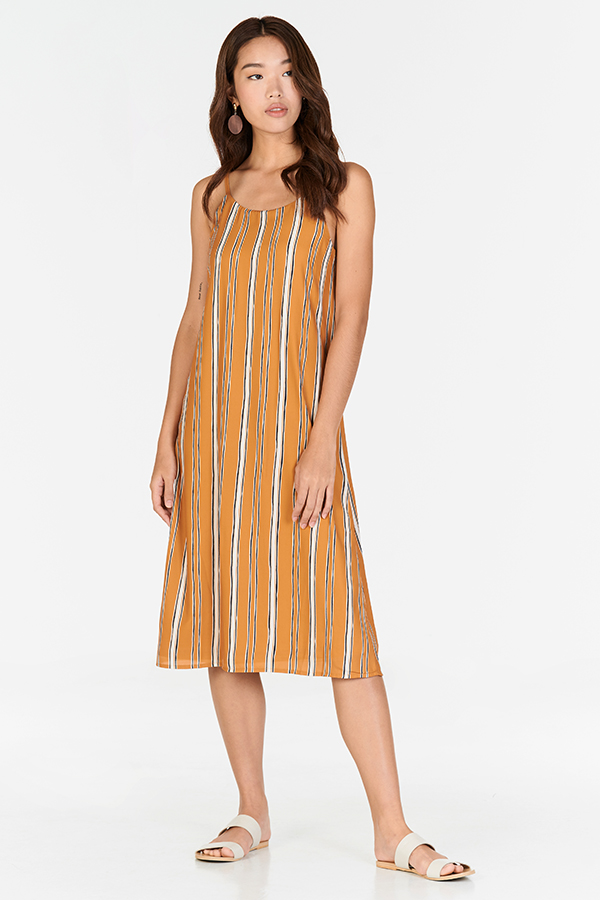 Sherina Two Way Stripes Midi Dress in Mustard