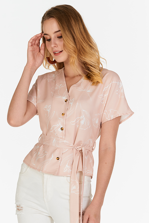 Charissa Floral Printed Buttoned Top in Pink