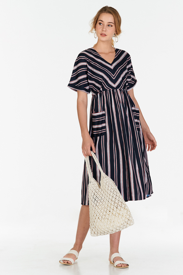 Sherina Stripes Midi Dress in Dark Navy