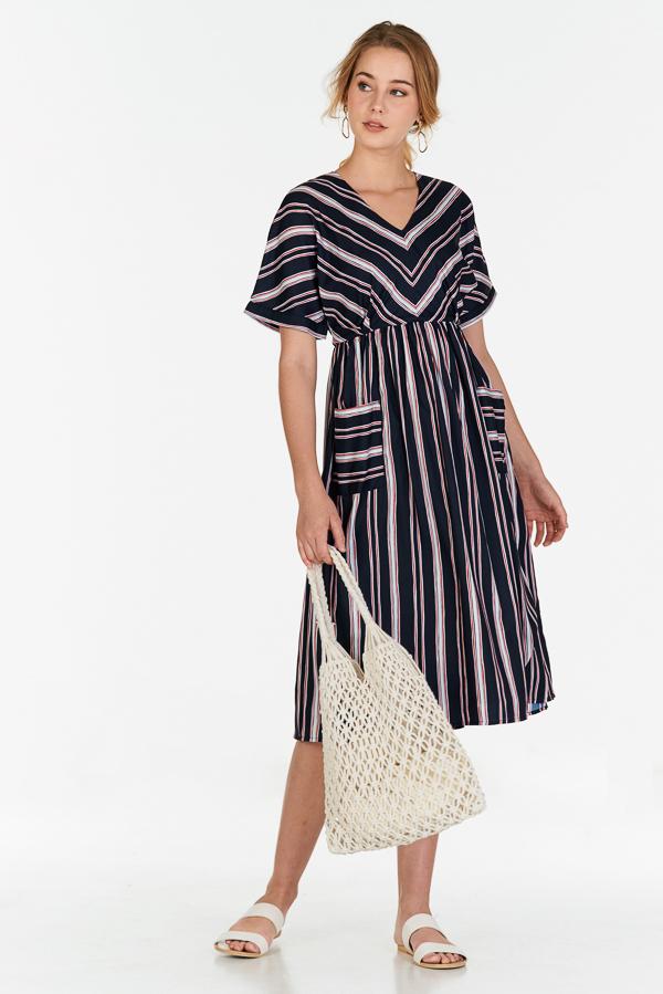 Sherina Stripes Midi Dress in Dark Navy