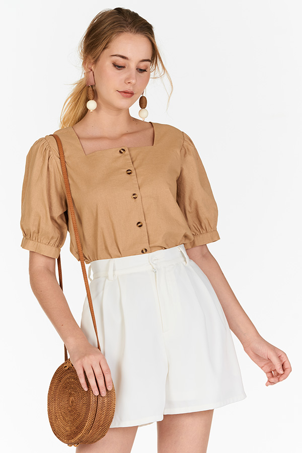 Gerina Square Neck Linen Top in Khaki
