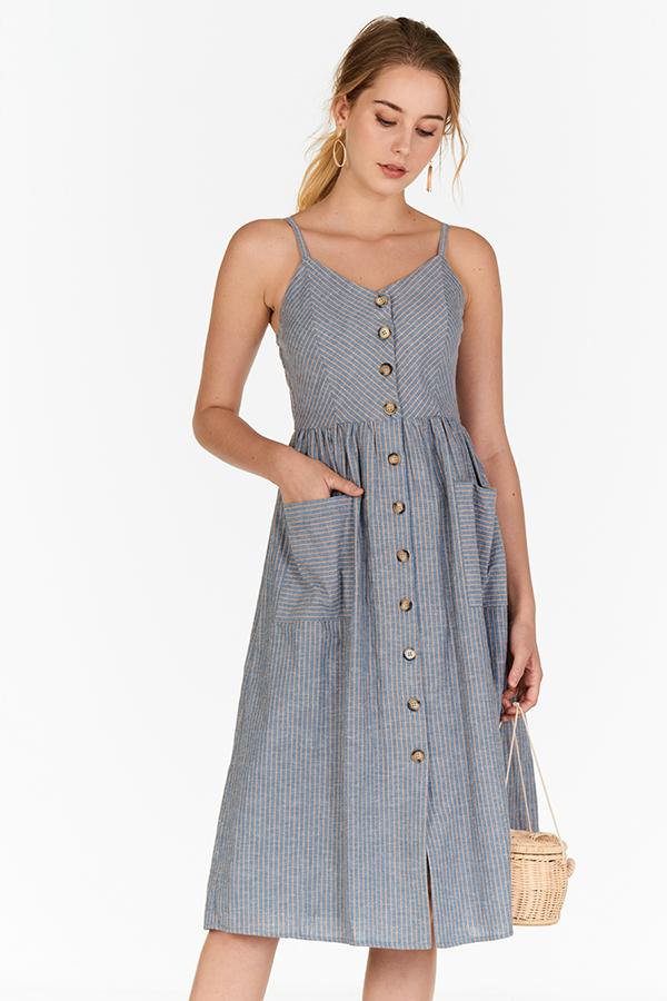 Dayle Buttoned Linen Stripes Dress