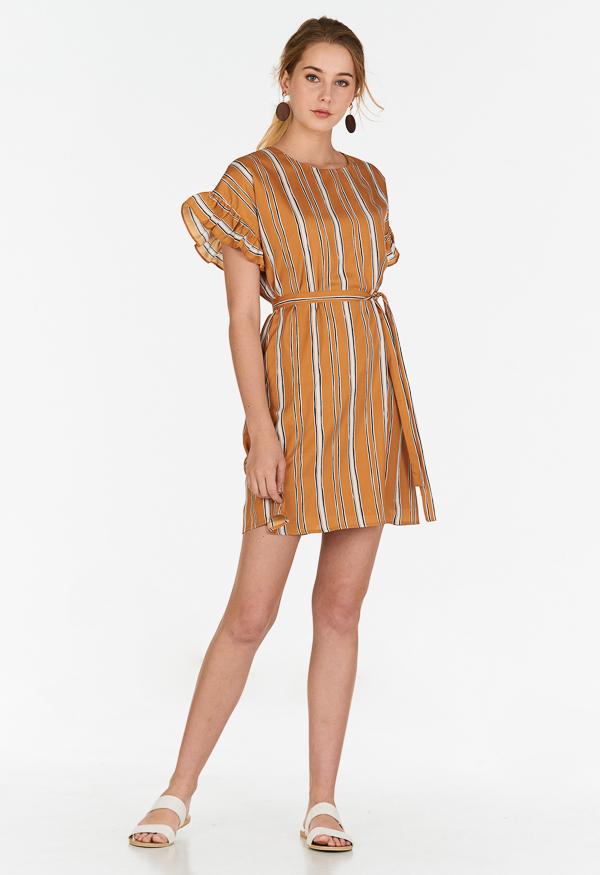 Sherina Stripes Ruffled Sleeves Dress in Mustard