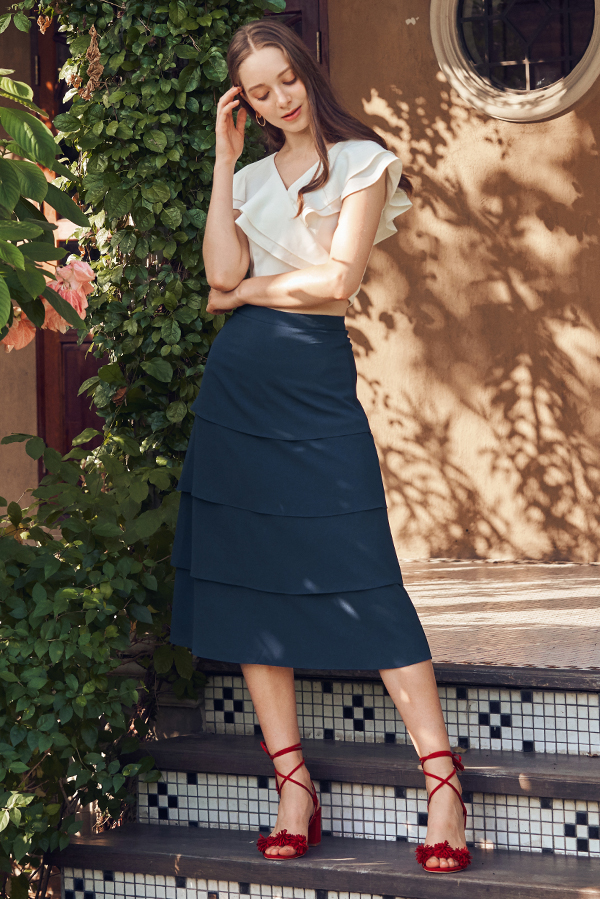Karia Tiered Midi Skirt