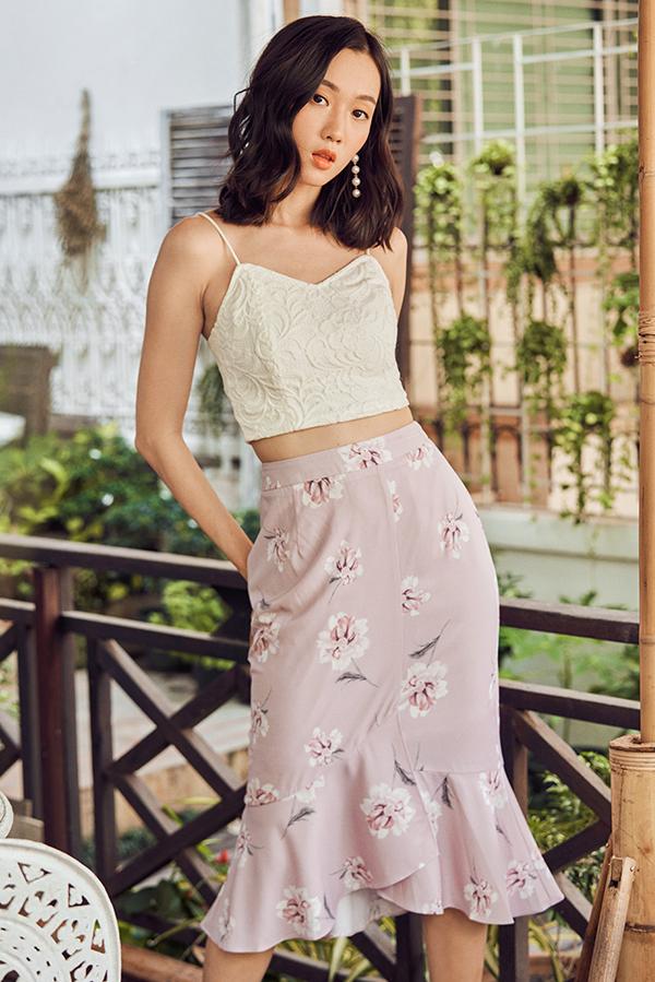 Veneta Floral Printed Midi Skirt