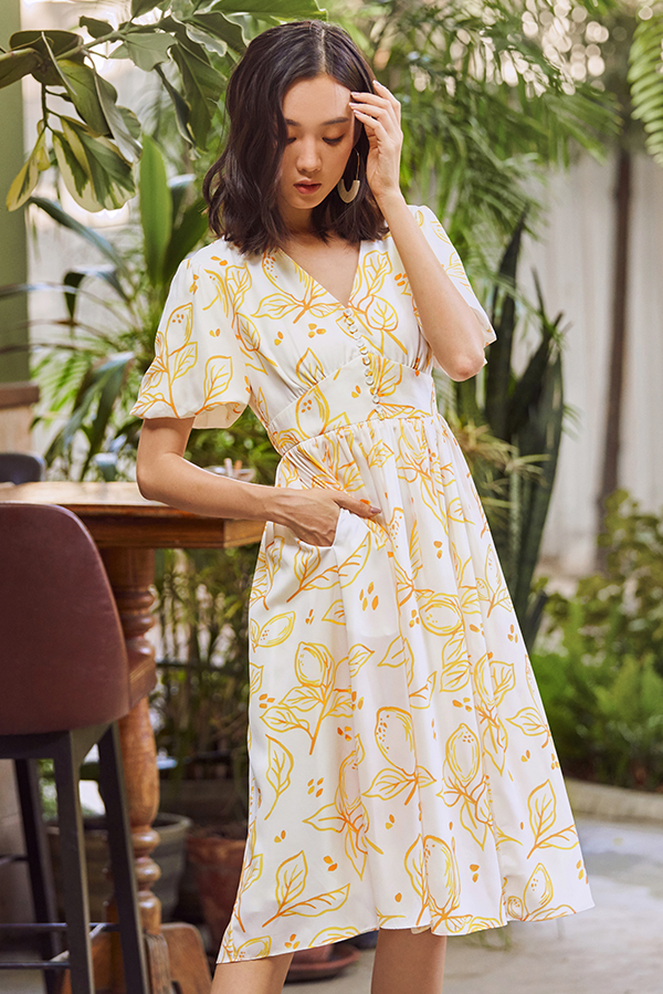 Anneth Printed Sleeved Midi Dress