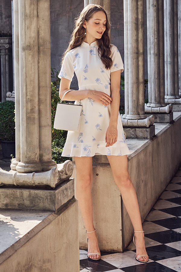 Ainsley Floral Printed Dropwaist Dress in Powder Blue