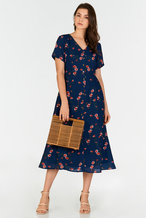 Vivienne Floral Printed Midi Dress in Navy