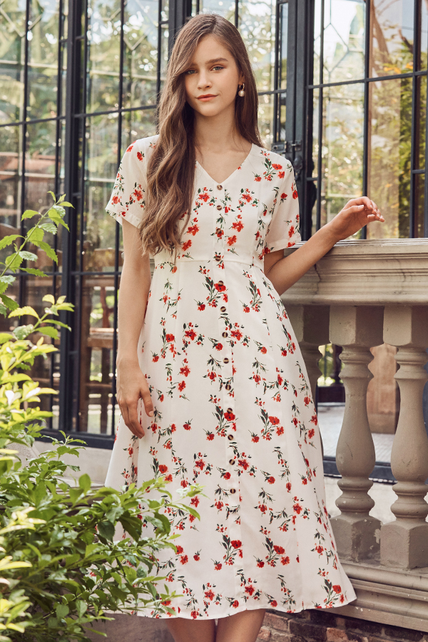 Vivienne Floral Printed Midi Dress in White