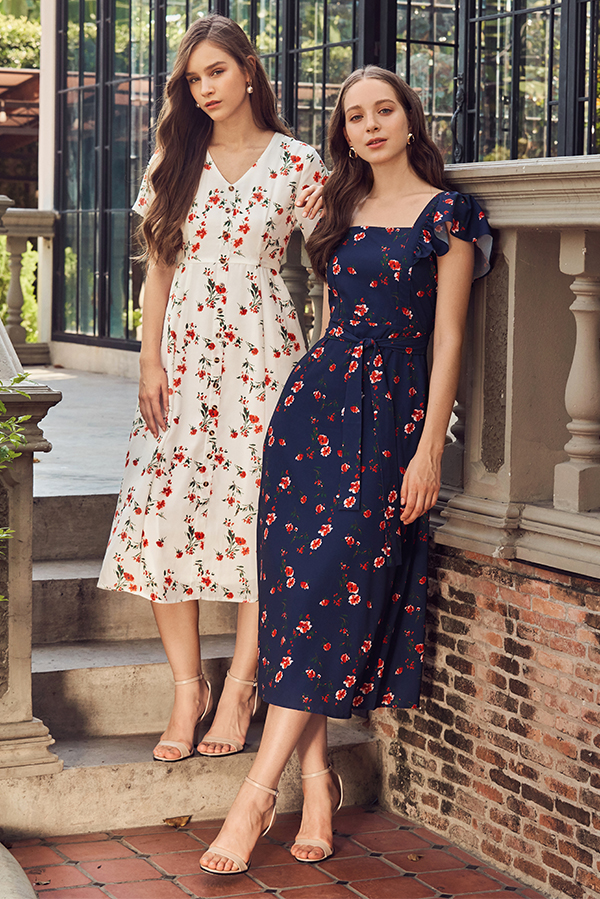 Vivienne Floral Printed Square Neck Midi Dress
