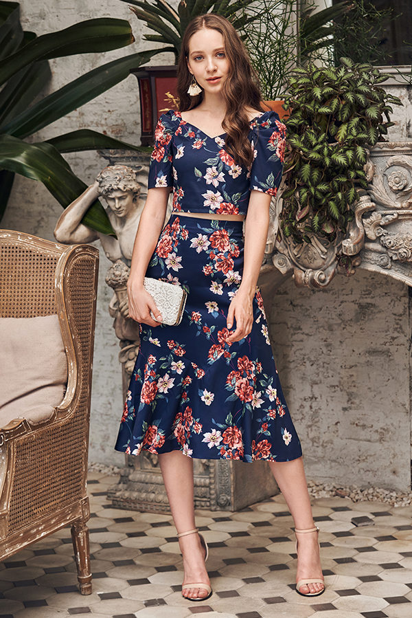 Irinna Floral Printed Midi Skirt