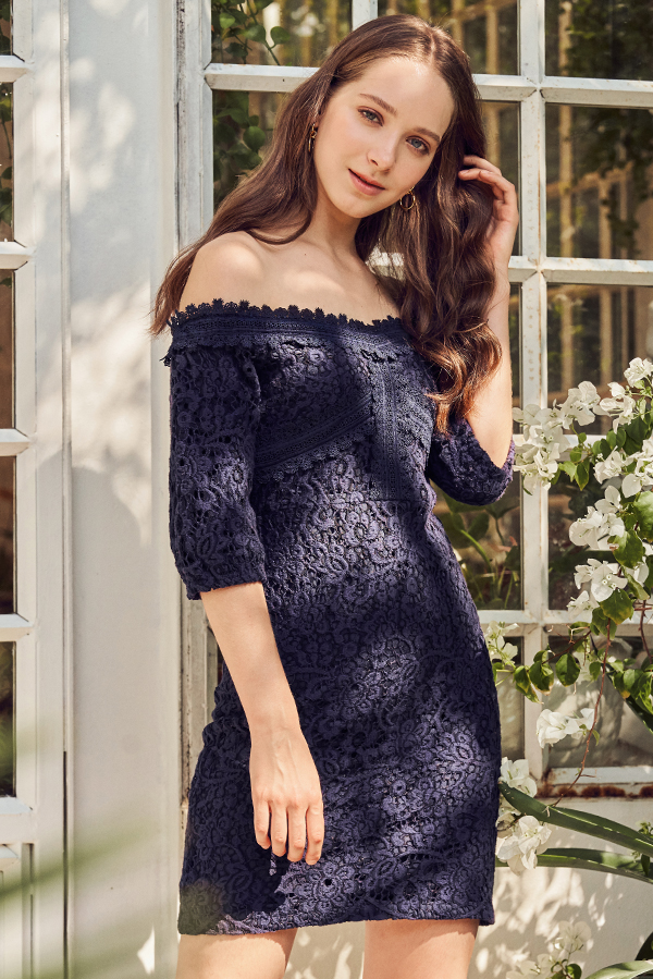 Darmine Off-Shoulder Crochet Dress