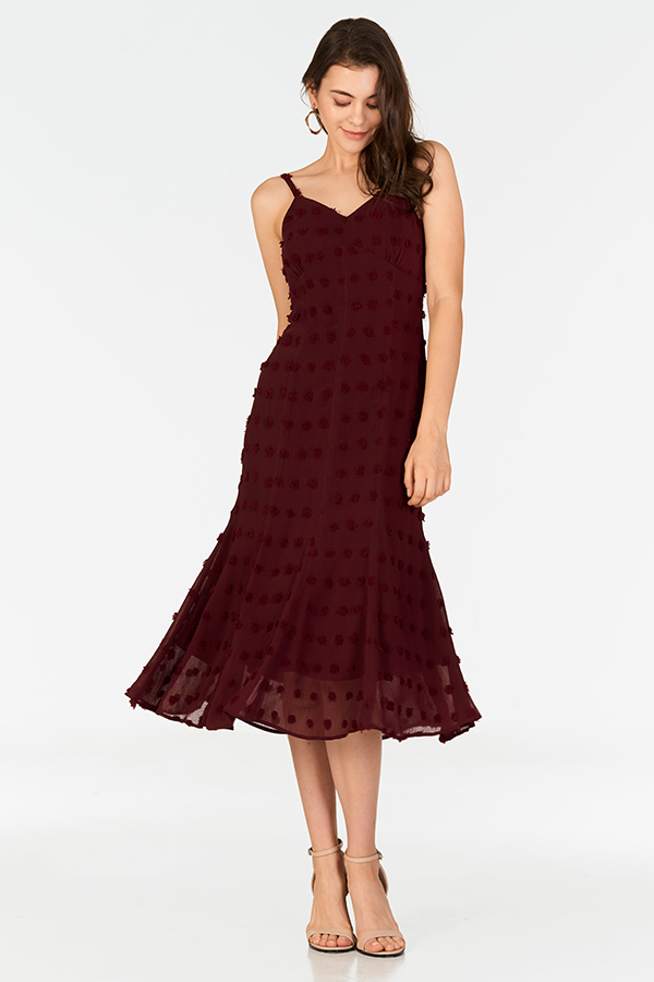 Madeleine Midi Dress in Wine