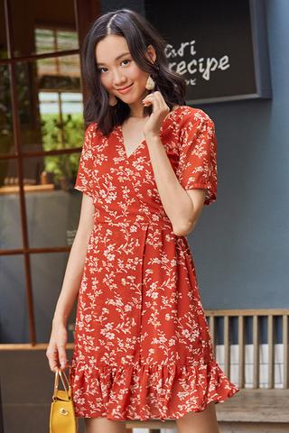 *Restock* Halina Floral Printed Dress in Tangerine