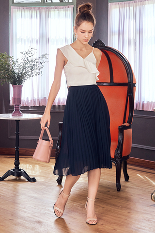 Raye Pleated Midi Skirt in Navy