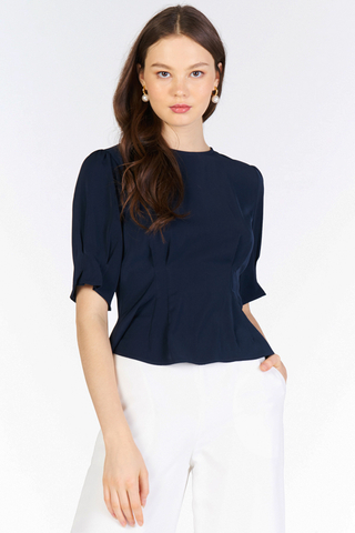 Marley Peplum Top in Navy