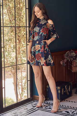 Delfina Floral Printed Cold Shoulder Dress