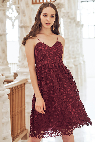 Crochet Enchantment Dress in Wine