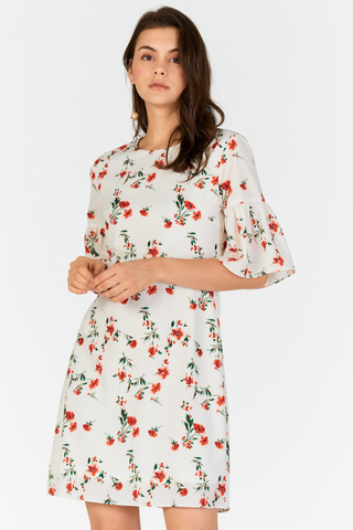 Vivienne Floral Printed Dress in White