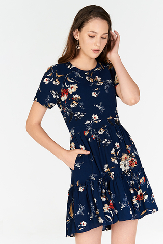 Anista Floral Printed Sleeved Dress