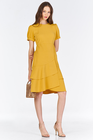 Docia Ruffled Midi Dress in Marigold