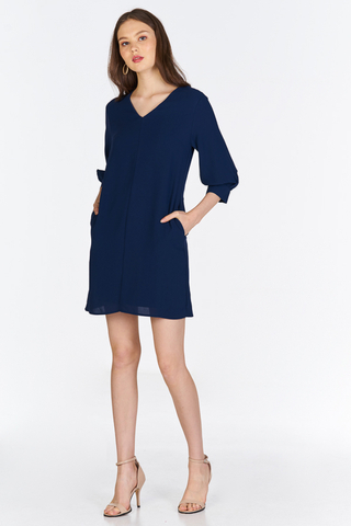 Avinna Sleeved Dress in Navy