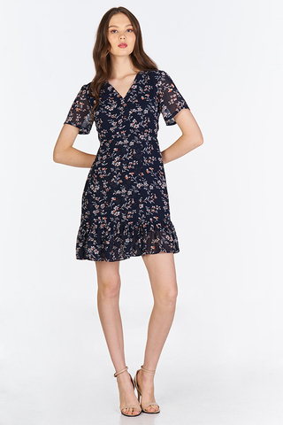 Halina Floral Printed Dress in Dark Navy
