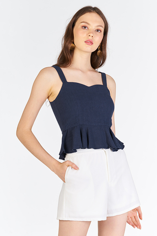Jerian Linen Peplum Top in Navy