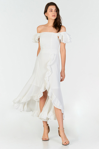 Maisha Ruffles Midi Dress in White