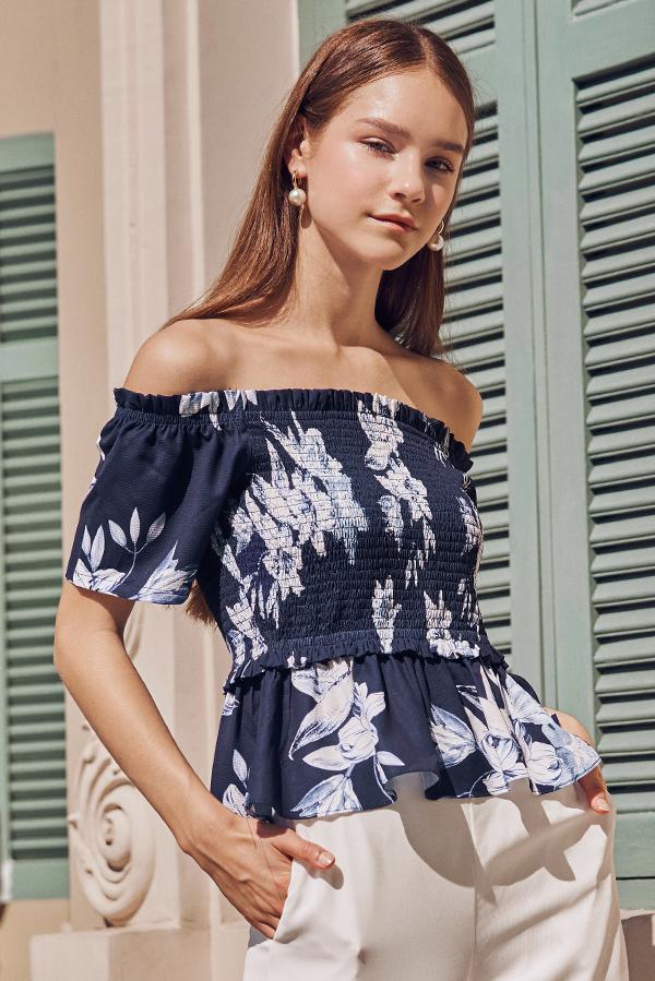 Esmera Floral Printed Off Shoulder Top