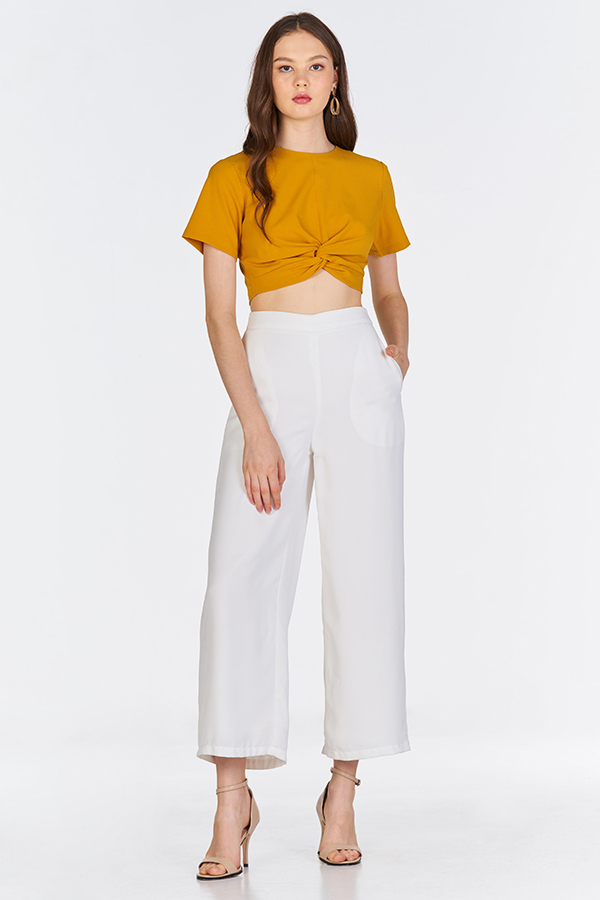 Malia Knotted Top in Mustard