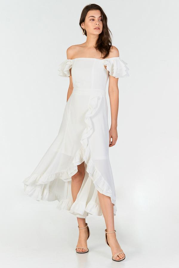 Maisha Ruffles Midi Dress in White 19dcfa76c