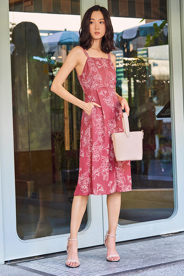 Fyrine Floral Printed Midi Dress