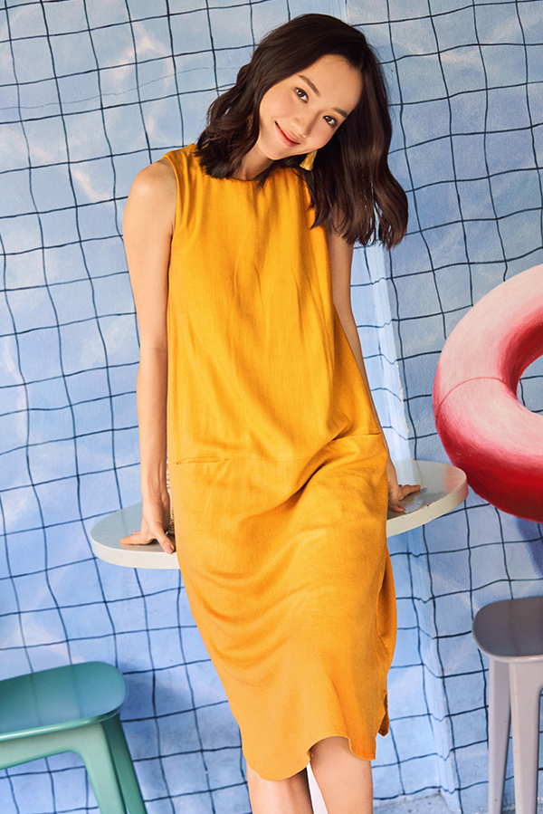 Cordia Linen Midi Dress in Mustard