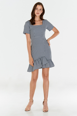 Errina Gingham Dress in Navy