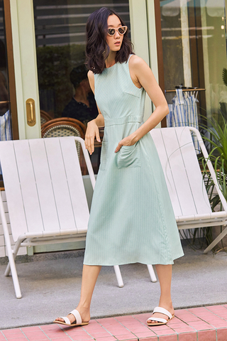 Shearin Striped Midi Dress in Spring Mint