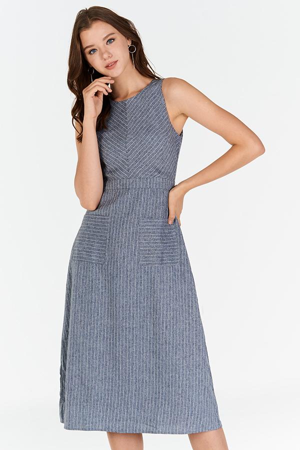 Shearin Striped Midi Dress in Blue