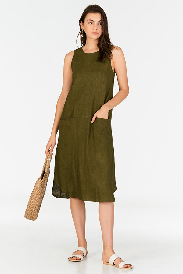 Cordia Linen Midi Dress in Olive