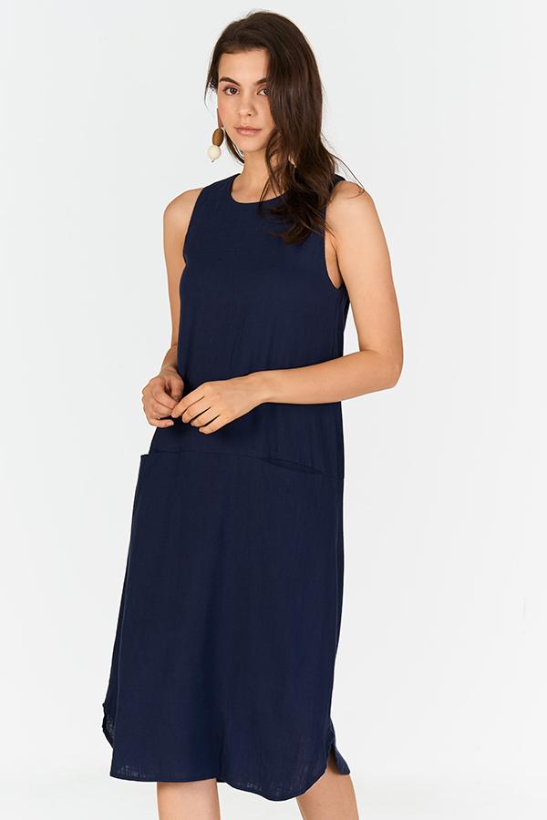 Cordia Linen Midi Dress in Navy