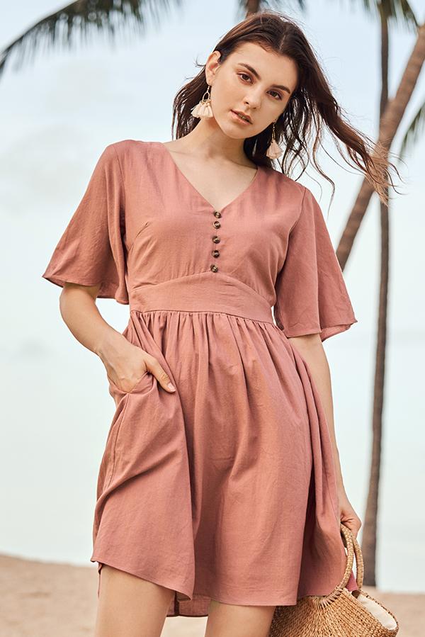 Derrin Linen Dress in Pink
