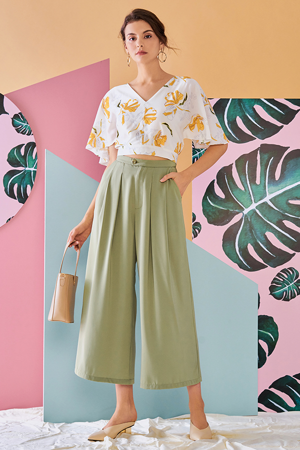 Corinda Pleated Pants in Sage