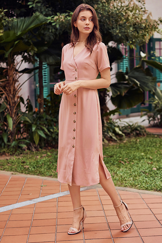 Renasa Buttoned Midi Dress in Pink