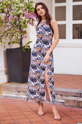 Clorina Scarf Printed Maxi Dress
